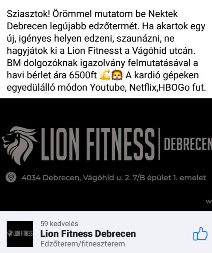 Lion Fitness Debrecen