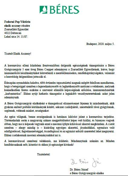 Béres József levele